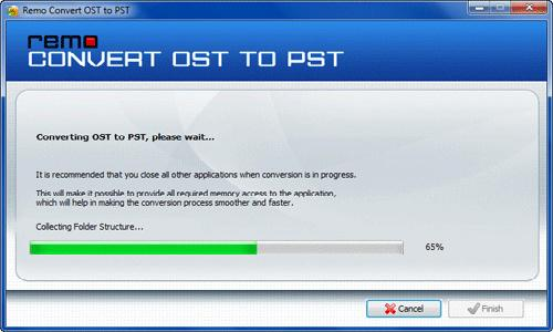 Conversion of OST to PST on Windows 7 - Progress Screen