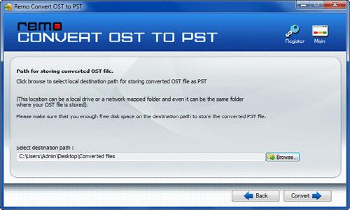 OST to PST Converter Tool for Windows 7 - Select Destination Path