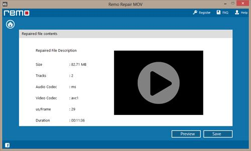 Click Preview option to view the repaired video file