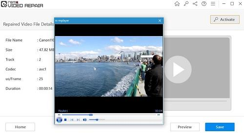 Preview the repaired video file