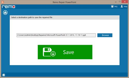 Repairing Damaged PowerPoint File - Save Repaired File