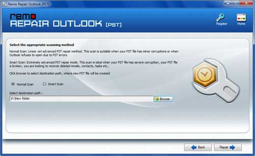 Fix Outlook Error 0x800ccc05 - Choose Scanning Method